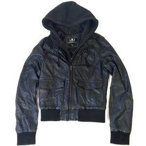 Foreign Exchange Vegan Leather Hoodie Moto Jacket